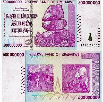 Zimbabwe 500 Million Dollars Banknote UNC AA/AB+ 100 Trillion Series (Zm500M)
