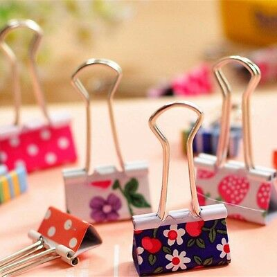 24Pcs 19mm Metal Binder Clips File Paper Clip Photo Stationary Office Supplies