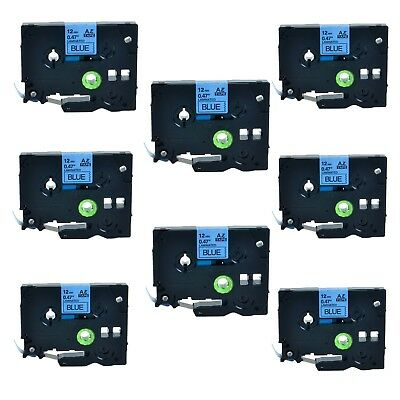 8PK TZ-531 TZe-531 Black on Blue Label Tape For Brother P-Touch PT-6100 12mmx8m
