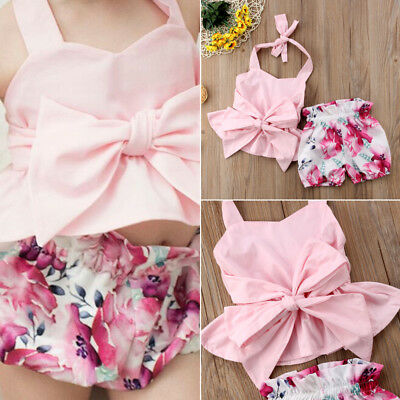 AU Canis Newborn Kid Baby Girl Bow-knot Tops T-shirt Floral Shorts Pants Clothes
