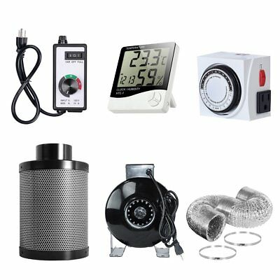 4'' Fan Filter Ducting Combo+Fan Speed Controller +Thermometer +24 Hour Timer