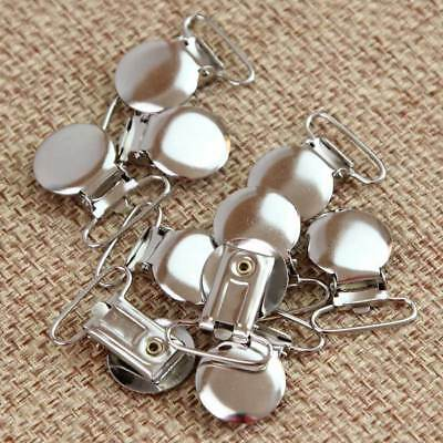 10Pcs Metal Round Duckbilled Clamp Buckle Pacifier Suspender Holder Clips Craft