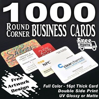 1000 Round Corner Business Cards Printing-Free Custom Designed -Free Shipping