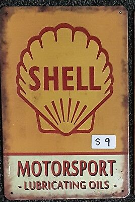 Shell Motorsport tin sign. Mancave Signs Aussie Seller