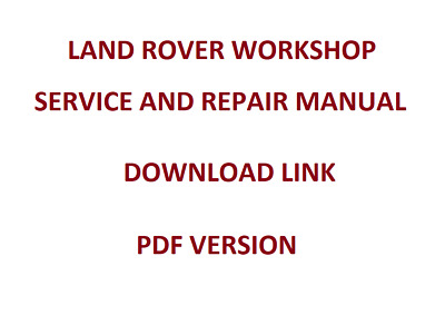 Rover workshop land discovery pdf 2 manual