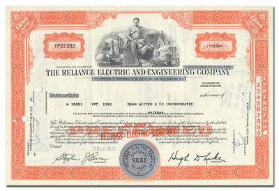 Reliance Electric and Engineering Company Stock Certificate