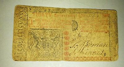 April 8 1962 New Jersey 30 Shilling Colonial Note   no 1334