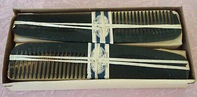 Original Box of 12 Antique Genuine Horn Combs Handmade in France early 1900s