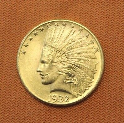 1932 $10 Gold Indian Head Eagle, Ton of mint Luster! No Reserve, ten dollar