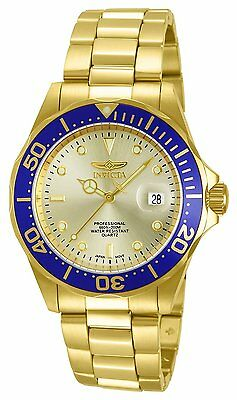 Invicta Mens Pro Diver Gold Dial 18k Ion-Plated Stainless Steel Watch