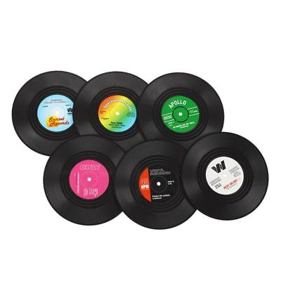 Brand New 6 PCS Vinyl Coaster Groovy Record Cup Drinks Holder Mat Tableware J3Q6