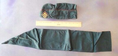 Vintage Boy Scouts of America Dark Green Cap Hat & Badge Sash 1940's-50's