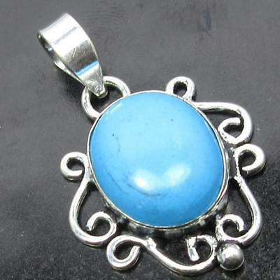 Spiritual Value Om Design !  925 Sterling Silver Plated Turquoise Pendant 3.6 CM