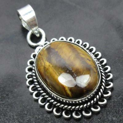 Spiritual Value Om Design ! Sterling Silver Plated Tiger's Eye Pendant 4.2 CM