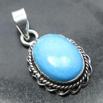 Spiritual Value Om Design !  925 Sterling Silver Plated Turquoise Pendant 3.4 CM