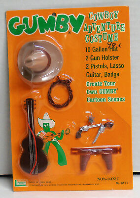 1965 Gumby Cowboy Adventure Costume by Lakeside Toys Made in Hong Kong NIP