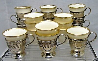 Set of 12 Vintage Lenox China and R. M. & S Sterling Silver Demitasse Cups