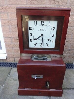 old wooden Time Recorder Clocking in Clock Machine+winding key needs adjusting 3