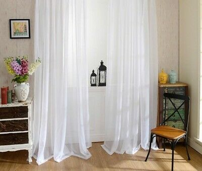 Solid White Yarn Curtain Window Tulle Curtains For Living Room Kitchen Decor New