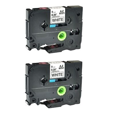 """2PK TZ-221 TZe-221 Black on White Label Tape For Brother P-Touch 3/8"""" 9MM"""