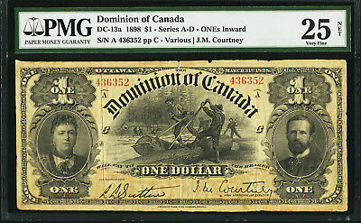 1898 CANADA DC-13a  $1 INWARD ONE'S SERIES A - D -- PMG 25 Very Fine