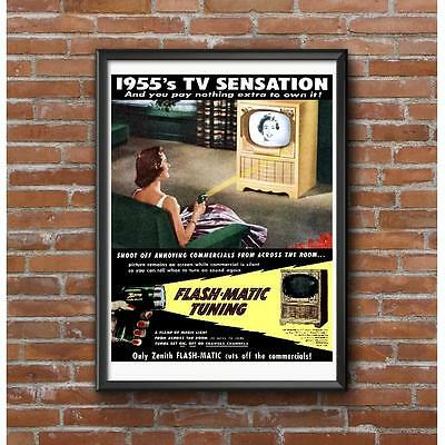 Zenith Television Flash-Matic 1955 Poster - Retro Cool Blab-Off Channel Changer