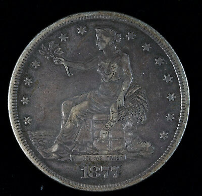 1877 S TRADE DOLLAR - CHOICE VERY FINE condition small rim ding to left of head