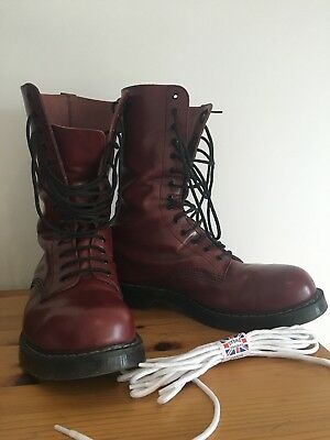 Original Solovair Boots Cherry Red Burgundy Steel Toe 14 Eye Uk 12