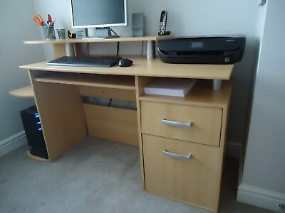 Solid Office Study Desk Wood Effect