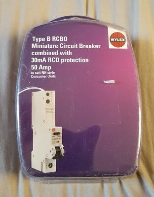 Type b rcbo 50 amp 30ma rcd protection wylex