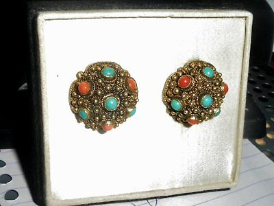 Antique Rare Art Nouveau Turquoise And Coral Earrings Chinese Silver Gilt