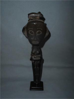 Antique Indonesia Borneo TOP HIGH AGED USED DAYAK TRIBE WOOD FEMALE FIGURE