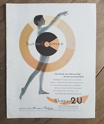 1955 Bur-mil CAMEO Shape 2U women's Hosiery stockings nylons nude legs ad