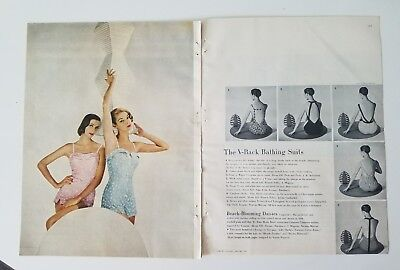 1955 women's Rose Marie Reid daisies swimsuit Jean Patchett ad