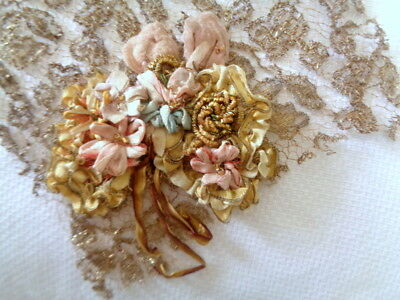 """2 1/2"""" Exquisite Antique French Silk Ombre Ribbonwork With French Meallics"""