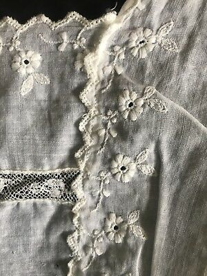 Antique Victorian Christening Dress Handmade Lace Lovely Embroidery Pleating