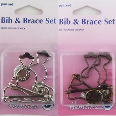 Hemline Pk2 40mm Metal Bib & Braces Clip Dungaree Button Set Kit Overall BUY 1 2
