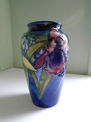 Antique Vtg Walter MOORCROFT Glazed  Pottery Vase Signed 8 in. slipper orchid