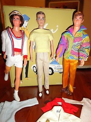 Vintage Barbie Ken Doll Lot 3 Dolls 1962 Case Clothes & Acces. Very Good Cond.