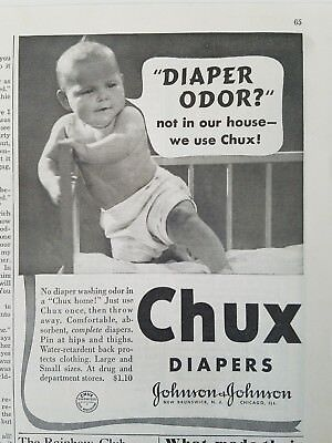 1937 Johnson & Johnson Chuck's baby diaper odor not in our house vintage ad