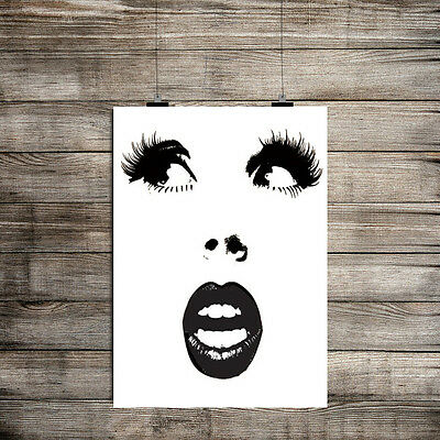Inspirational Motivational Black White Face Retro.a4 Poster Print Decor  Wall
