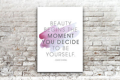 Inspirational Motivational Designer Beauty Begins Quote  A4 Poster Print