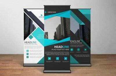 """Retractable Roll Up Banner Stand, Customized 33"""" Wide X 79"""" Tall. Free Shipping!"""