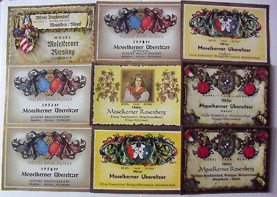 1954-1973 series of 16 old labels Alfons Brachtendorf, Mosel in Germany