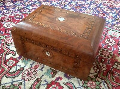 Antique Victorian Marquetry Trinket Box,Mother Pearl Escutcheon,Jewellery Case