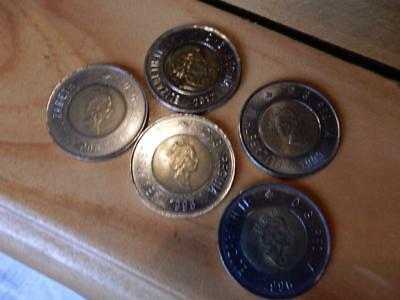 Lot Of 5 Canada Toonie Canadian $2 Coins Vf+  (3)1996,99,2012