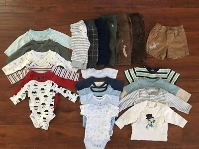 Lot Of 24 Baby Boys Clothing Size 3-6 Months 2 Free Bibs