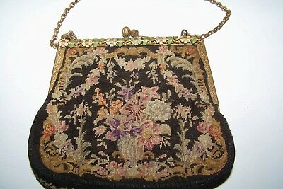 Antique petit point purse with enameling-charming