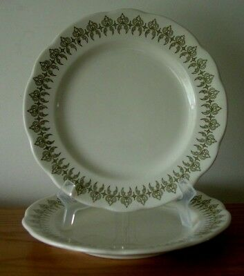 2 Vintage Buffalo China Scalloped Dinner Plates  Green Arabic/geometric Design