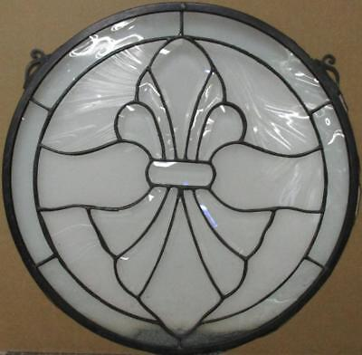 "OLD ENGLISH STAINED GLASS WINDOW Fleur-De-Lis Pretty Circle 14.75"" x 14.75"""